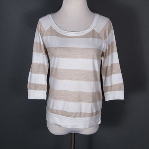 Splendid popover shirt top beige white stripes XS